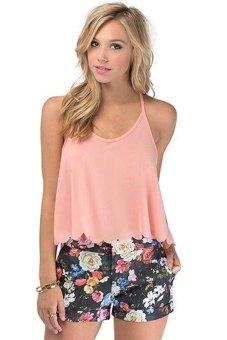 Cyber Women Strap Sleeveless Backless Casual Shirts Chiffon Tank Tops Blouses ( Pink ) - intl