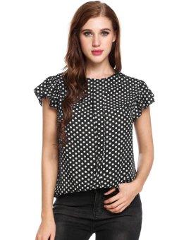 Cyber Women Casual Ruffles Sleeve O Neck Polka Dot Slim Pullover T-Shirt Summer Blouses ( Black + White ) - intl