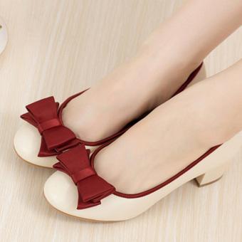 Giày da gót vuông nơ xinh G22GX (Đỏ)