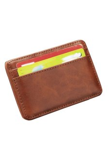 Cyber Men's Leather Magic Wallet Card Holder Money Clip Purse (Coffee) - Intl
