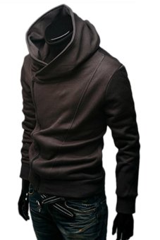 Bluelans Men's British Style Casual Personality Stayed Hooded Jacket Coat Coffee (Intl)
