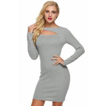 Cyber Angvns Women Sexy O-Neck Hollow Long Sleeve Print Bodycon Pencil Dress ( Grey ) - Intl