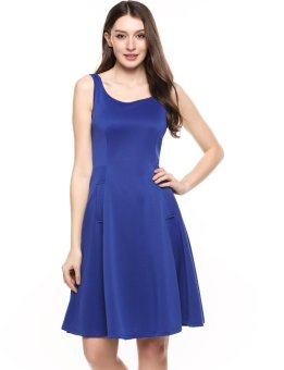 Sunweb New Women Casual Square Collar Sleeveless Solid Elastic A-Line Pleated Hem Tank Dress with Pockets ( Blue ) - intl