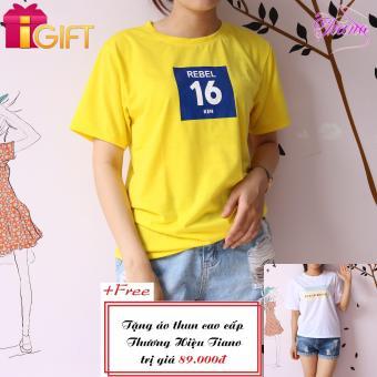 Áo Thun Nữ Tay Ngắn In Hình Rebel 16 Ken Cực Cool Tiano Fashion LV375 ( Màu Vàng ) + Tặng Áo Thun Nữ Tay Ngắn In Hình Black White Tiano Fashion (Trắng)