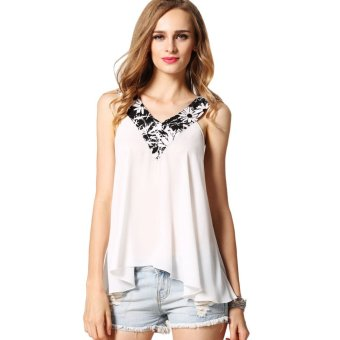 Cyber Finejo Women Fashion Casual Loose Sleeveless Patchwork A-Line Tank Tops (White) - Intl