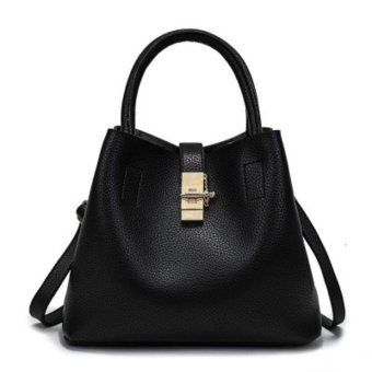 PU Leather Fashion Candy Women Bags Mobile Messenger Ladies Handbag (Black) - intl