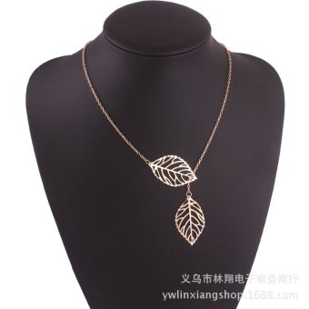 Necklaces Metal jewelry Leaf Necklace double short chain pendant female leaves clavicle Necklace (Gold) - intl