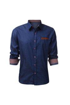 PODOM Mens Slim Fit Long Sleeve Denim Casual Vintage Plain Shirt Dark Blue - Intl