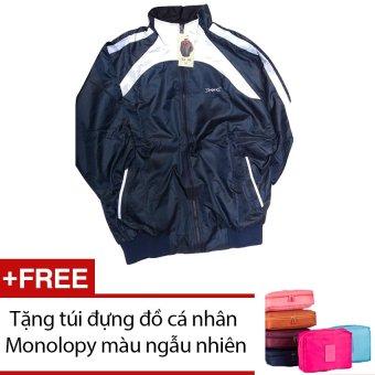 Áo khoác thể thao nam Dori D003 (Xanh đen phối trắng) + Tặng túi đựng đồ cá nhân Monolopy màu ngẫu nhiên