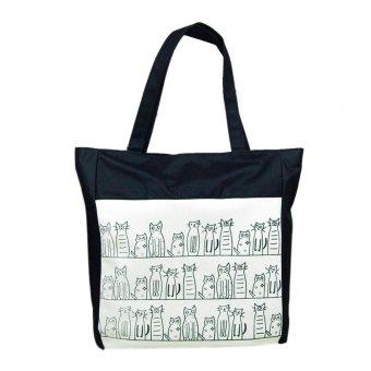 Canvas Cartoon cat Pattern Girls Shopping Shoulder Bags Handbag Beach Black - intl