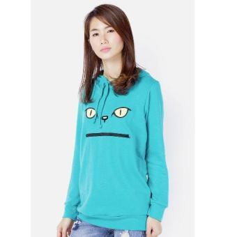 Áo khoác hoodie nữ thêu mèo CIRINO (Xanh)