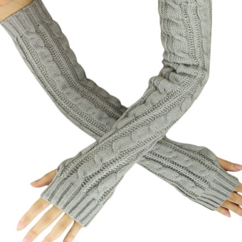 Hemp Flowers Fingerless Knitted Long Gloves Grey (Intl)