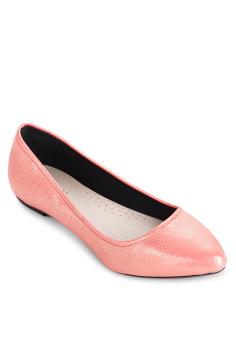 Giày Búp Bê Nhọn Ánh Nhũ (Đỏ cam)
