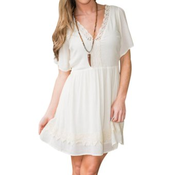 2016 New Women Lace Short Sleeve Deep V Neck Lace Dress White - intl