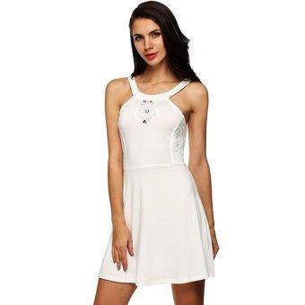 Cyber Finejo Sexy Ladies Women Lace Patchwork Sleeveless Dress ( White ) - Intl