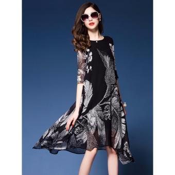 Đầm Xòe Họa Tiết [màu đen]