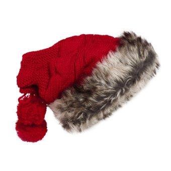 2015 Hot sell Women Knit Hat Winter Warm Crochet Hat Rabbit Scarf Red (Intl)