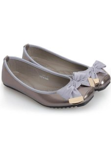 LALANG Women's Shoes Bowknot Moccasin-gommino Square Toe Flat Shoes Grey