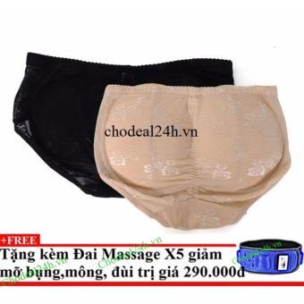 Bộ 2 Quần độn mông + Tặng đai massage x5 giảm mỡ