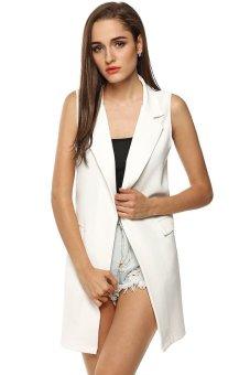 Cyber Meaneor Ladies Women Sleeveless Lapel Waistcoat Long Cardigan Jacket Top Front Pocket (White) - intl