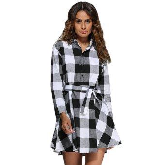 Women Turn Down Collar Plaid A-Line Mini Dress (White&Black) - intl