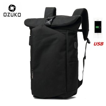 OZUKO 2017 New Korean Style Men's Backpacks Fashion Laptop Computer Bags School Bags Casual Travel Bag (Black) - intl