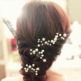 Wedding Bridal bridesmaid Pearl Flower Headpiece Hair Pin Hairpin (White) (Intl)