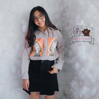 Áo sơ mi nữ tay dài cổ đứng họa tiết sọc gân thời trang trẻ trung Hàn Quốc Urban Horizon NB0004 (Xám)