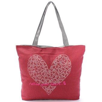 Printing Canvas Bags Women Handbag Fashion Shoulder Shopping bag Totes Red - intl
