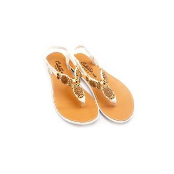 Giày xăng đan Lopez Cute D17 (Nâu Trắng)