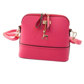 Women Messenger Bags Vintage Small Shell Leather Handbag Casual Bag Hardware deer ornaments shell package (Red) - intl