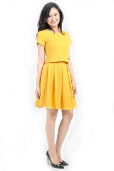 Váy jupe xoè xếp ly màu vàng thời trang Bella moda