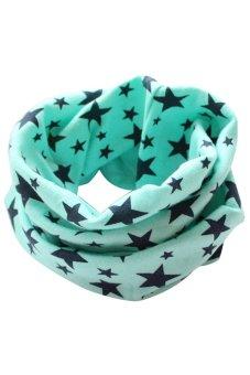 Bluelans Kids Boy Girl Stars Cotton Neckerchief Scarves Shawl Unisex Knitting Water Blue (Intl)