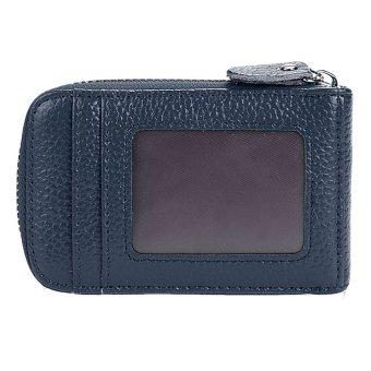 Cyber Mens/Womens Fashion Mini Synthetic Leather Wallet ID Credit Cards Holder Organizer Purse (Dark Blue) - Intl