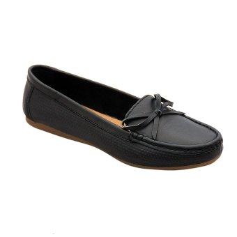 Giày nữ thấp da bò thật cao cấp Đen ESW07