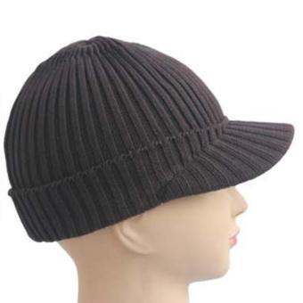 Women Knitted Woven Yarn Knitting Winter Autumn Warm Outdoor Peaked Cap Hat Coffee - intl