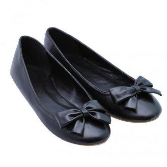 Giày búp bê nơ Dolly & Polly DL0102 Đen mịn