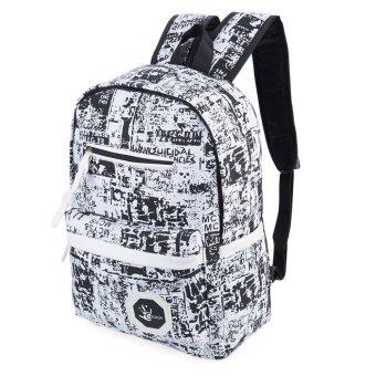 Trendy Portable Travel School Bag VERTICAL Ladder Lock Zipper(White And Black) - intl
