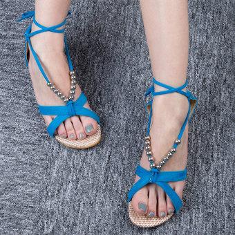 Lady Sandals Flat Heel Beaded Cross Tendon Lacing (Blue) - intl