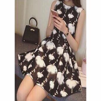 Đầm Xòe Họa Tiết Búp Bê (màu đen)
