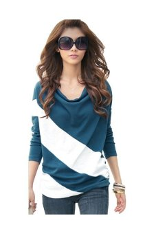 Women's Soft Long Sleeve Splicing T Blouse (Blue) - Intl