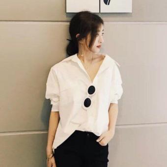 Áo Nữ - Áo Sơ Mi Nữ Oversize Phối Túi Cao Cấp màu trắng