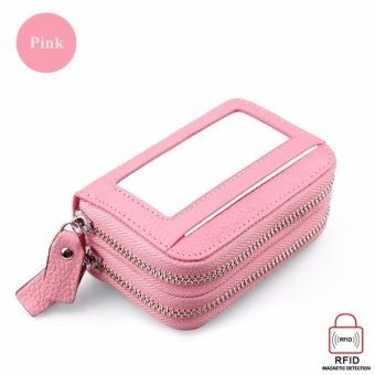 Double-layer PU leather Women wallet organ card bag Handbags High capacity RFID anti-magnetic card package with Zipper pink - intl