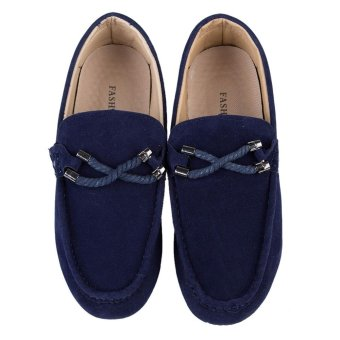 Men Driving Shoes Moccasins Suede Leather Casual Footwear(Black) - intl