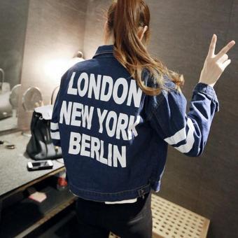Áo khoác Jean sọc tay logo London