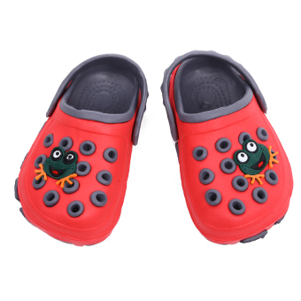 Boys Frog Cartoon Non-slip Hole Sandals Slippers (Red)