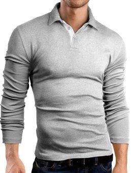 Men's Long Sleeved Shirt Polo Shirt Cotton and Polyester (Light Gray) - intl