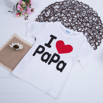 Kids Letter Printed T-shirt Round Collar 04 (White+Letter Papa) - intl
