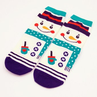 Fashion 3D Cartoon Cotton Ankle Socks Women Casual Floor Christmas Series Lovely Snowman - Intl