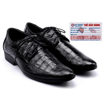 HL7128 - Giày nam Huy Hoàng vân cá sấu màu đen